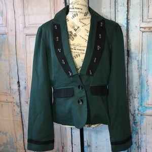 Tulle Green Blazer Military Style Jacket
